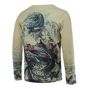 3D Dragon Print V-Neck Long Sleeve Sweater -