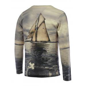 3D Sailing Print V-Neck Long Sleeve Sweater -