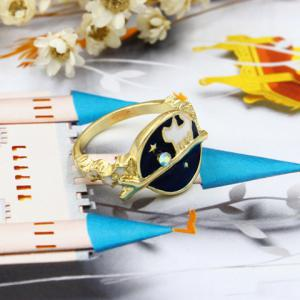 Universe Cat Star Rhinestone Ring -