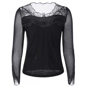 Mesh-Insert Embroidered Slimming Blouse -