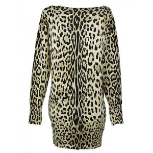 Long Sleeves Leopard Knitted Pullover -