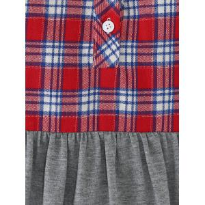 Plaid Print Patchwork Buttoned Blouse - GRAY/RED XL