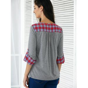 Plaid Print Patchwork Buttoned Blouse - GRAY AND RED XL