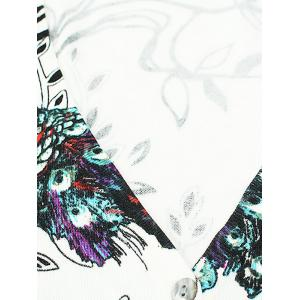 V-Neck Peacock and Floral Pattern Cardigan -