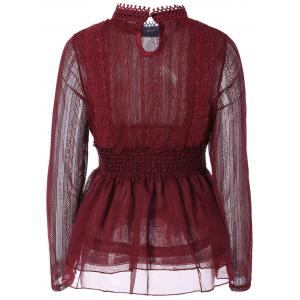 Beaded Lace Splicing Peplum Blouse - WINE RED 2XL