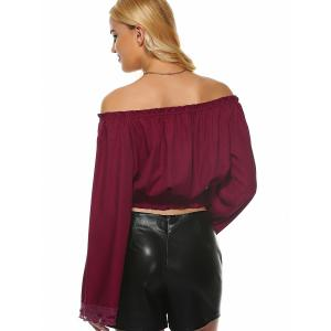 Off The Shoulder Shirred Laciness Blouse -