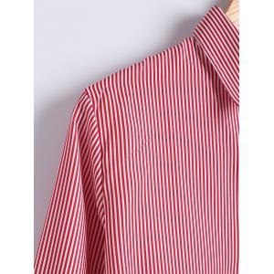 Striped Print Trumpet Sleeves Shirt -