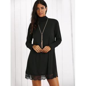 Turtleneck Lace Hem Long Sleeve Mini Dress - BLACK XL