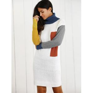 Color Block Turtleneck Wool Blend Sheath Sweater Dress -