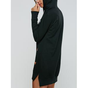 Animal Embroidered High Low Hooded Sweatshirt Dress -