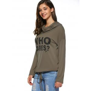 Letter Printed Front Pocket Hoodie -
