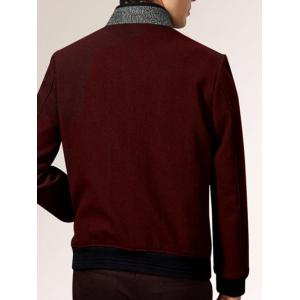 Stand Collar Melange Rib Spliced Jacket ODM Designer - DARK RED 3XL