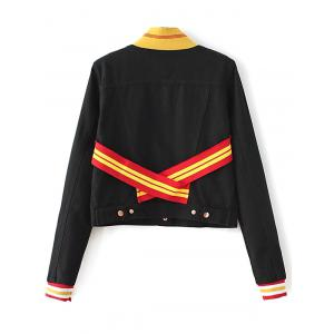 Stand Neck Long Sleeve Color Block Jacket -