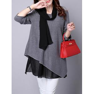 Long Sleeve Faux Twinset Asymmetric Blouse - GRAY XL