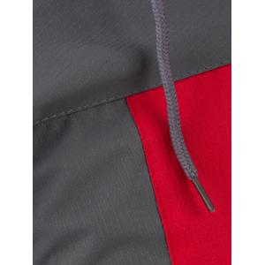 Color Splicing Elastic Cuff Zippered Hooded Jacket -