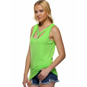 Strappy Candy Color Tank Top - NEON BRIGHT GREEN XL