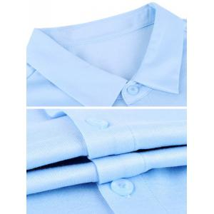 Turn-down Collar Breast Pocket Color Splicing Short Sleeve Shirt ODM Designer - BLUE S