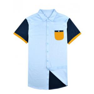 Turn-down Collar Breast Pocket Color Splicing Short Sleeve Shirt ODM Designer - BLUE 3XL