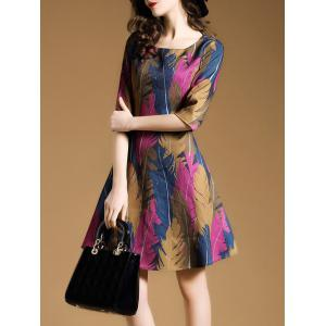 Retro Feather Printed Fitted A Line Dress -