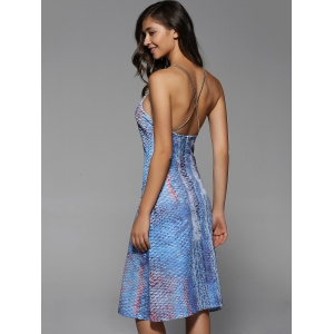 Print Open Back Dress -
