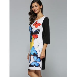 Butterfly Print Casual Dress For Summer - WHITE/BLACK XL