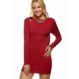 Long Sleeve Backless Bodycon Dress - DEEP RED XL
