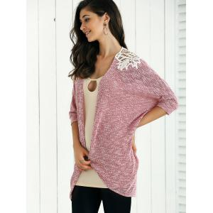 Open Front Lace Patchwork Cardigan -