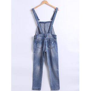 Pocket Frayed Icon Patchwork Overall Pants -
