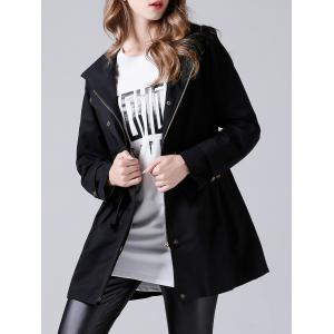 Hooded Drawstring Single-Breasted Trench Coat - BLACK 4XL