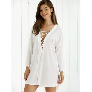 Lace-Up Bell Sleeve Smock Dress -