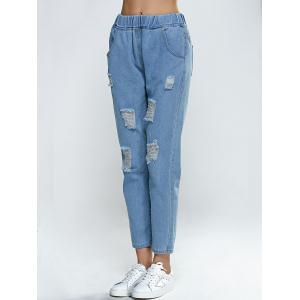 Elastic Waist Broken Hole Pocket Design Jeans - LIGHT BLUE M