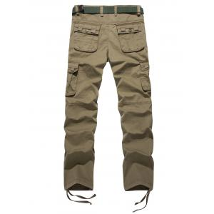 Plus Size Zipper Fly Pockets Design Drawstring Cargo Pants -