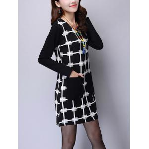 Front Pocket Plaid Printed Long Sleeve Mini Dress -