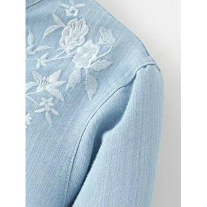 Stand Neck Long Sleeve Floral Embroidered Shirt -