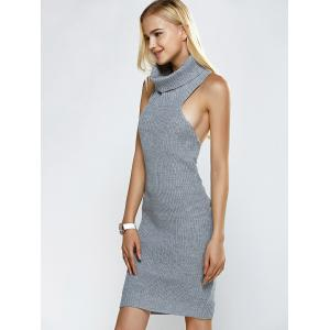 Turtleneck Backless Ribbed Sleeveless Sweater Dress - GRAY ONE SIZE
