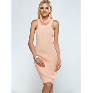 Turtleneck Backless Ribbed Sleeveless Sweater Dress - PINK ONE SIZE