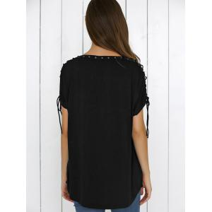 Lace-Up Batwing Sleeve T-Shirt - BLACK XL