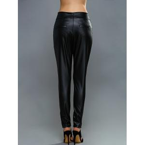 High-Waisted Faux Leather Zippered Pants - BLACK XL