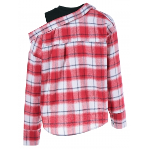 Long Sleeve Plaid Fake Twinset Shirt -