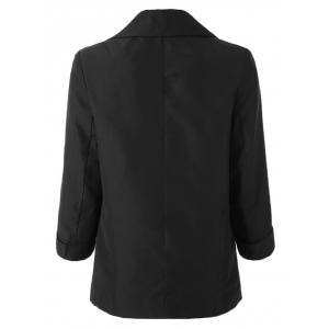 Simple Design Lapel Roll Sleeve Pure Color Women's Blazer -