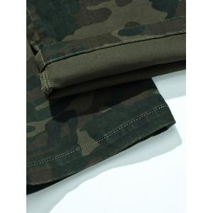 Plus Size Zipper Fly Camouflage Button Flap Pockets Design Cargo Pants -