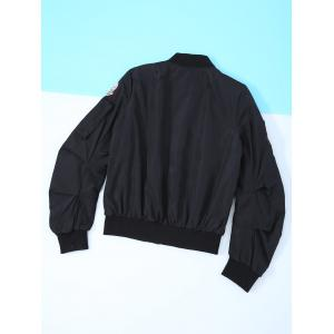 Patched Zipper Bomber Jacket -