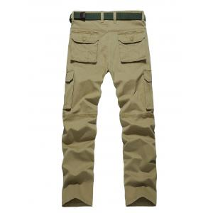 Plus Size Straight Leg Zipper Pockets Design Applique Cargo Pants -