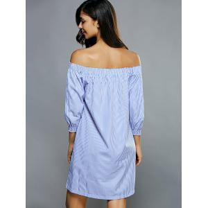 Off-The-Shoulder Striped Tunic Dress - LIGHT BLUE S