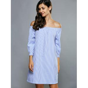 Off Shoulder Casual Striped Tunic Dress -