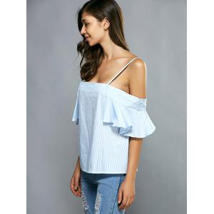 Cold Shoulder Striped Flounce Blouse -