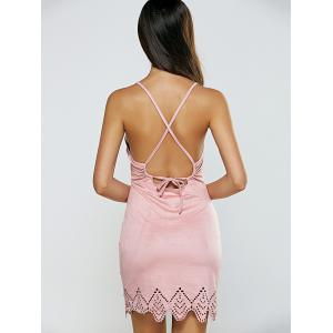 Criss Cross Wavy Cut Open Back Dress -