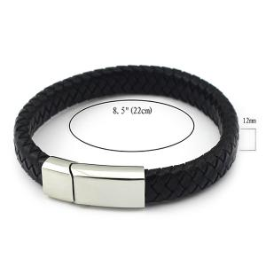Braided Faux Leather Magnet Buckle Bracelet -