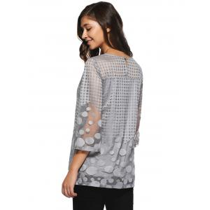 Spliced Plaid Polka Dot Chiffon Blouse -