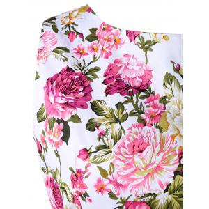 Retro Floral Printed Sleeveless Pleated A Line Dress -